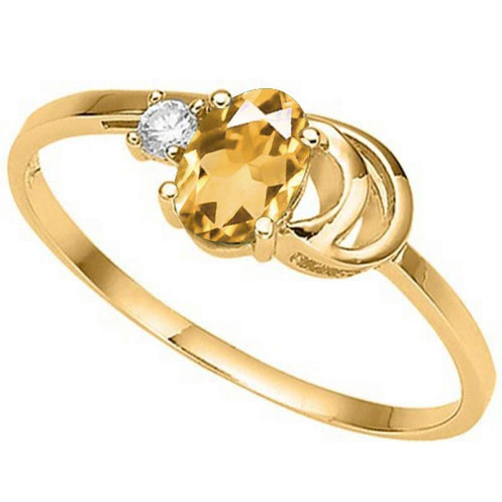 0.84 CT DARK CITRINE AND ACCENT DIAMOND 0.01 CT 10KT SOLID YELLOW GOLD RING #IRS94083