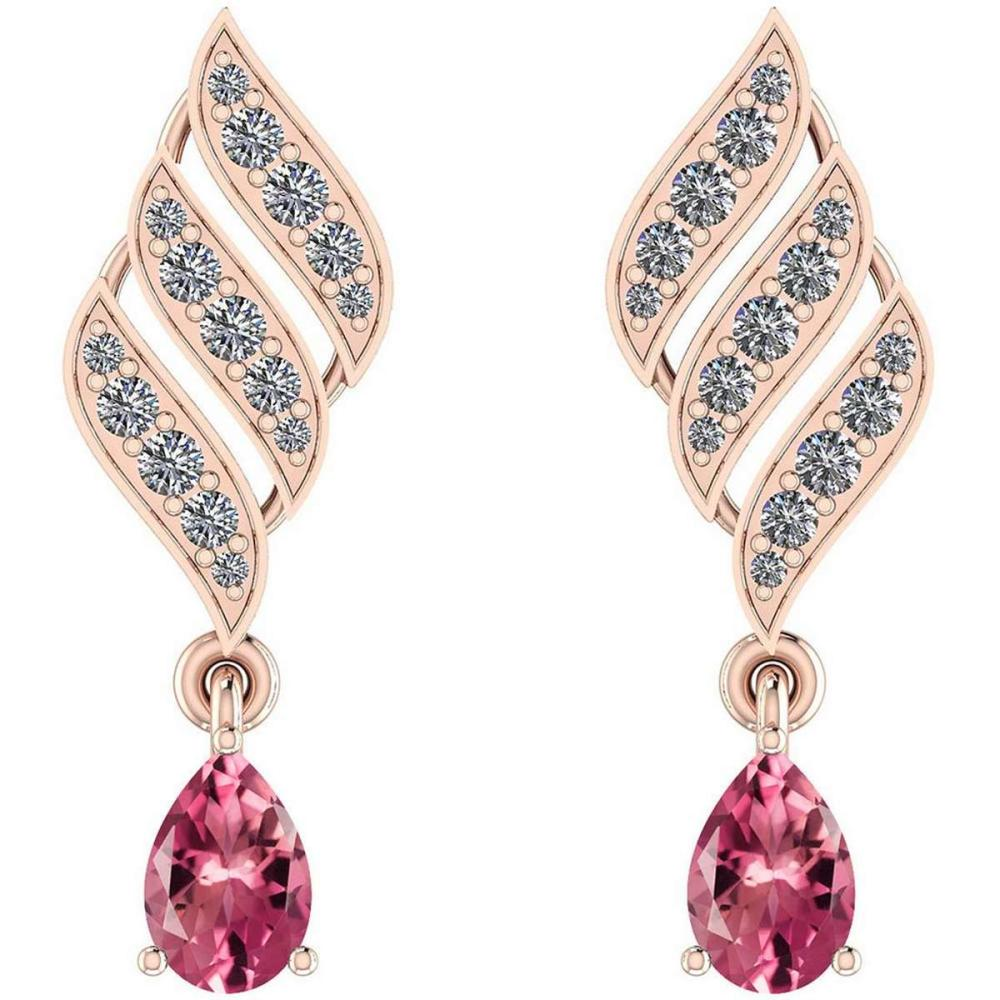 Certified 1.51 Ctw Pink Tourmaline And Diamond VS/SI1 10K Rose Gold Dangling Earrings #IRS29782