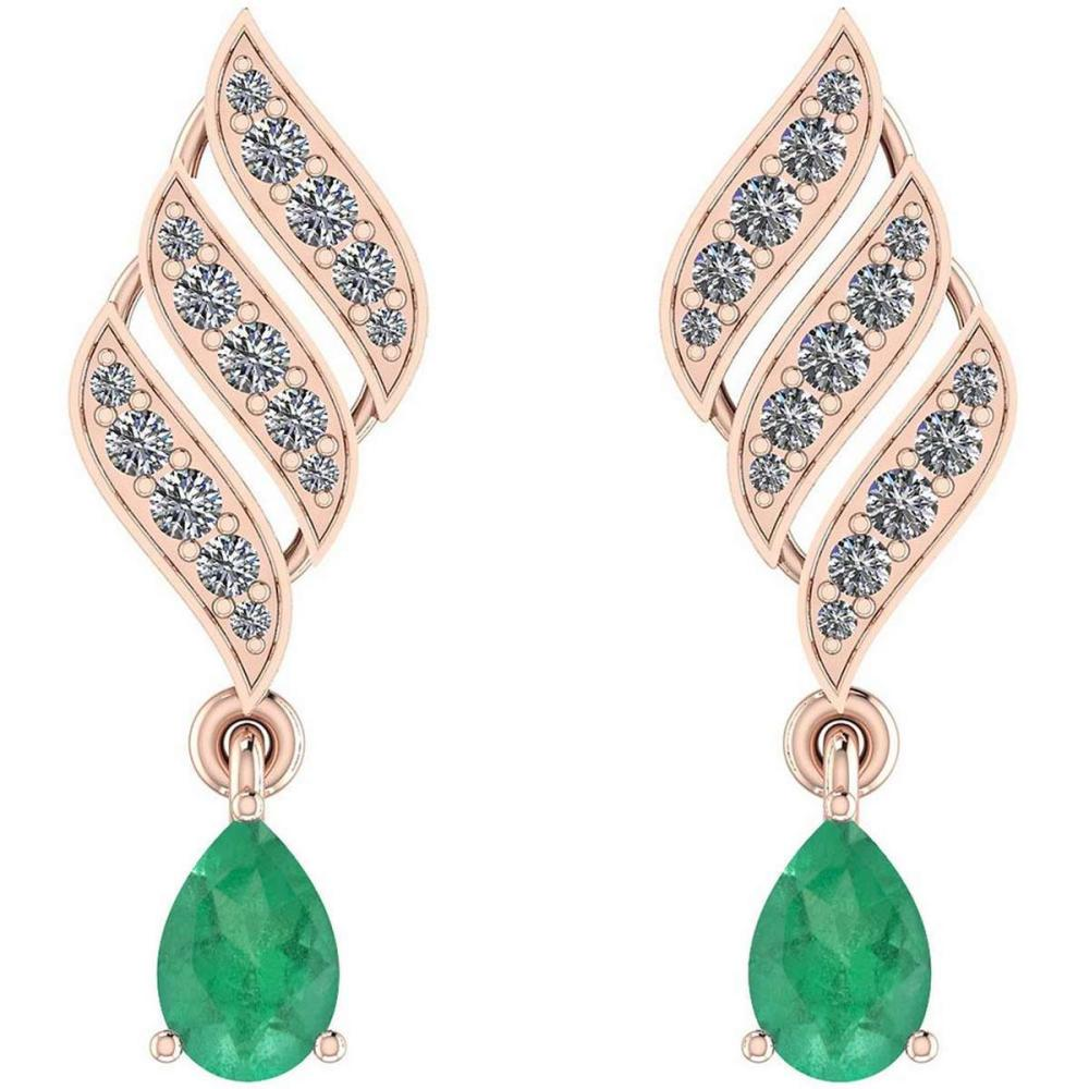Certified 1.51 Ctw Emerald And Diamond VS/SI1 10K Rose Gold Dangling Earrings #IRS29784