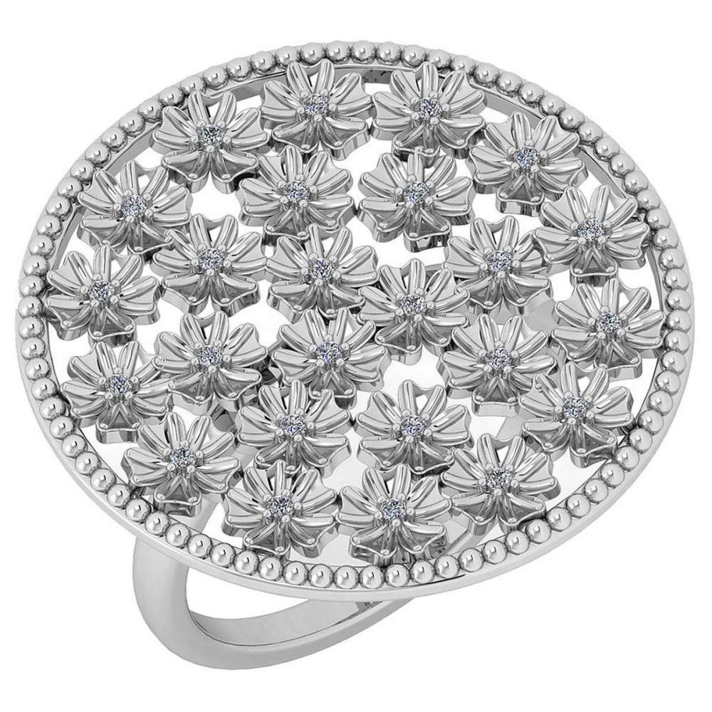 Certified 0.13 Ctw Diamond VS/SI1 Flowers 18K White Gold Halo Ring #IRS25618