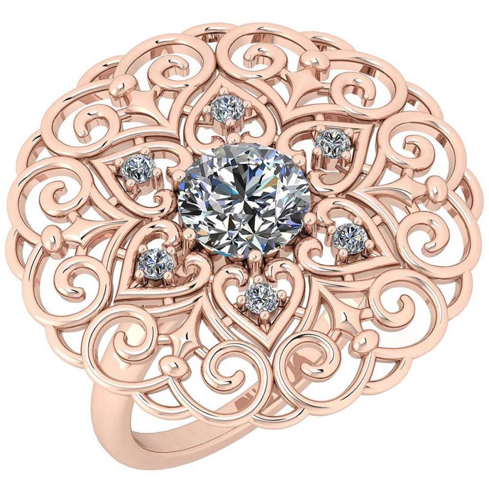 Certified 1.40 Ctw Diamond SI2/I1 Filigree Style 18K Rose Gold Halo Ring #IRS25620