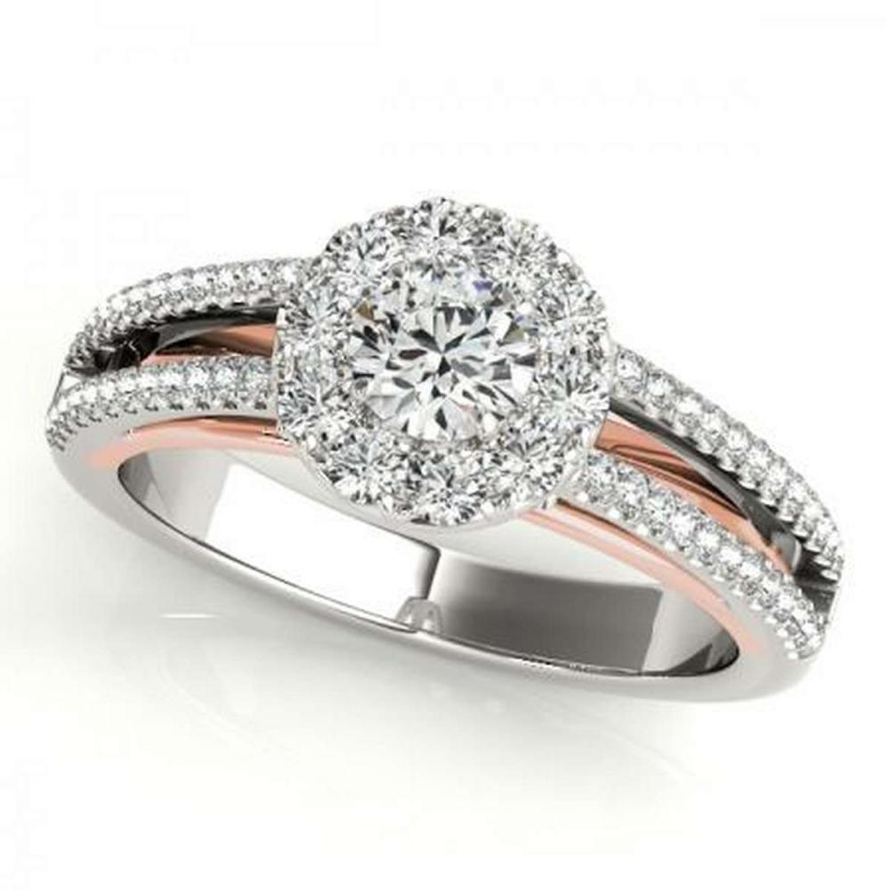 CERTIFIED PLATINUM 1.14 CTW G-H/VS-SI1 DIAMOND HALO ENGAGEMENT RING #IRS86203