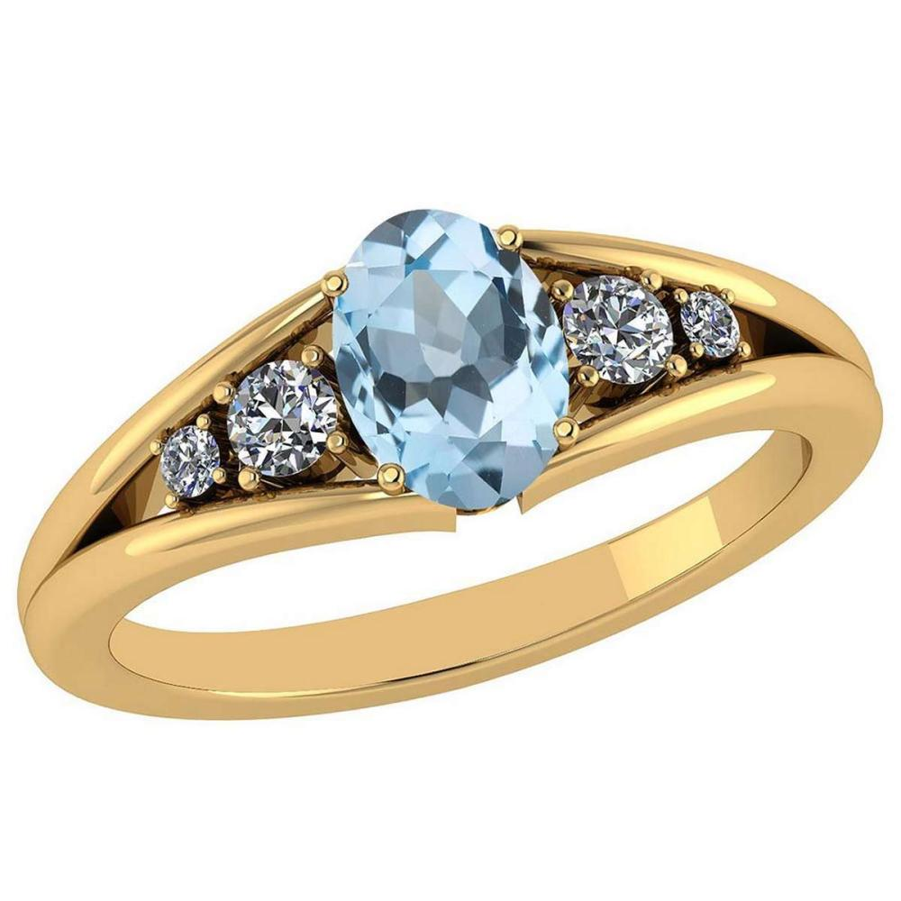 Certified 0.93 Ctw Blue Topaz And Diamond VS/SI1 14K Yellow Gold Ring Size 4.5 to 9 Is Available #IRS26796