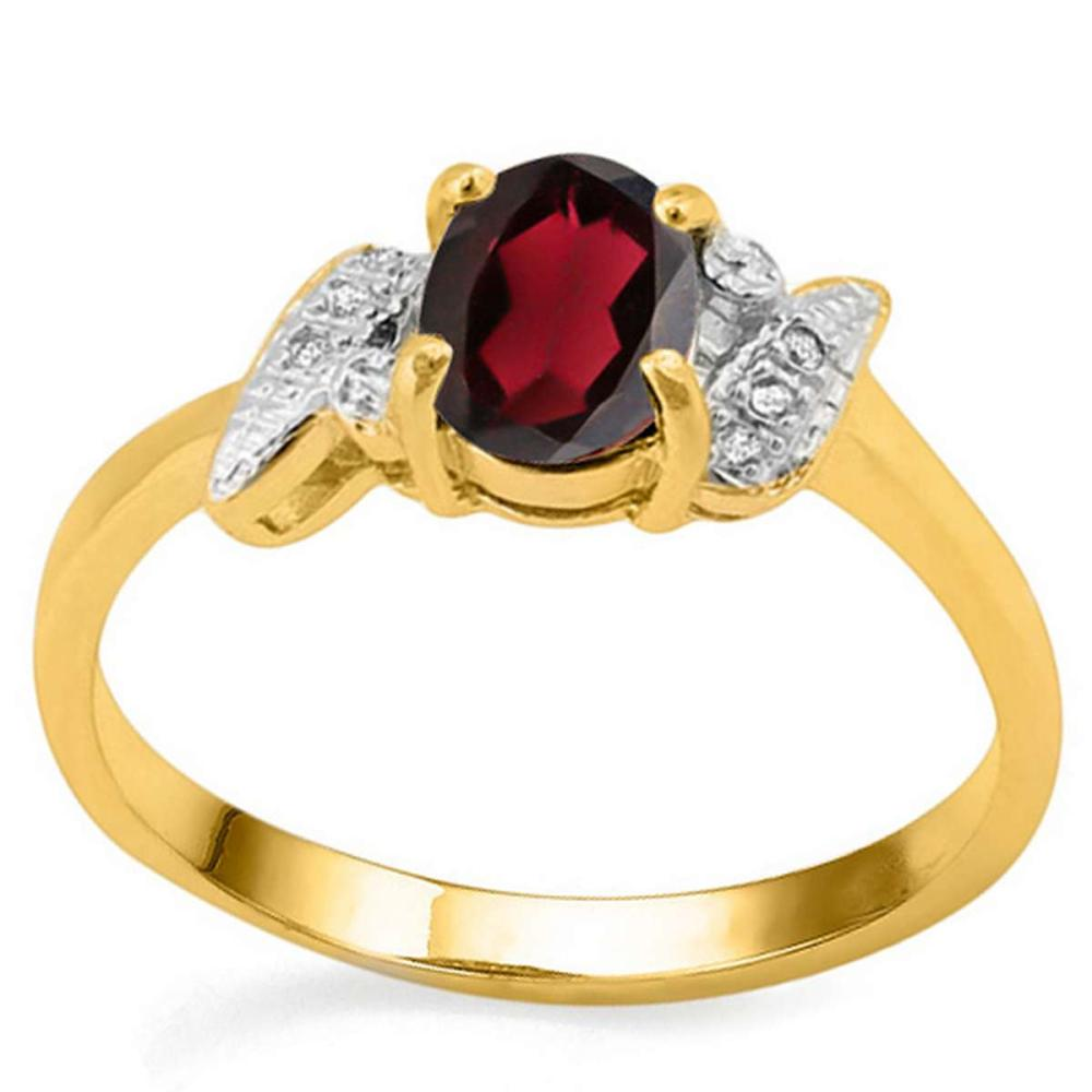 0.75 CT REDISH GARNET AND ACCENT DIAMOND 0.03 CT 10KT SOLID YELLOW GOLD RING #IRS94007