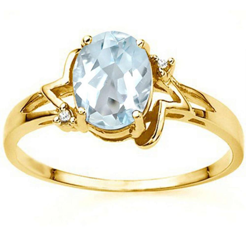 0.73 CT AQUAMARINE AND ACCENT DIAMOND 0.01 CT 10KT SOLID YELLOW GOLD RING #IRS93977