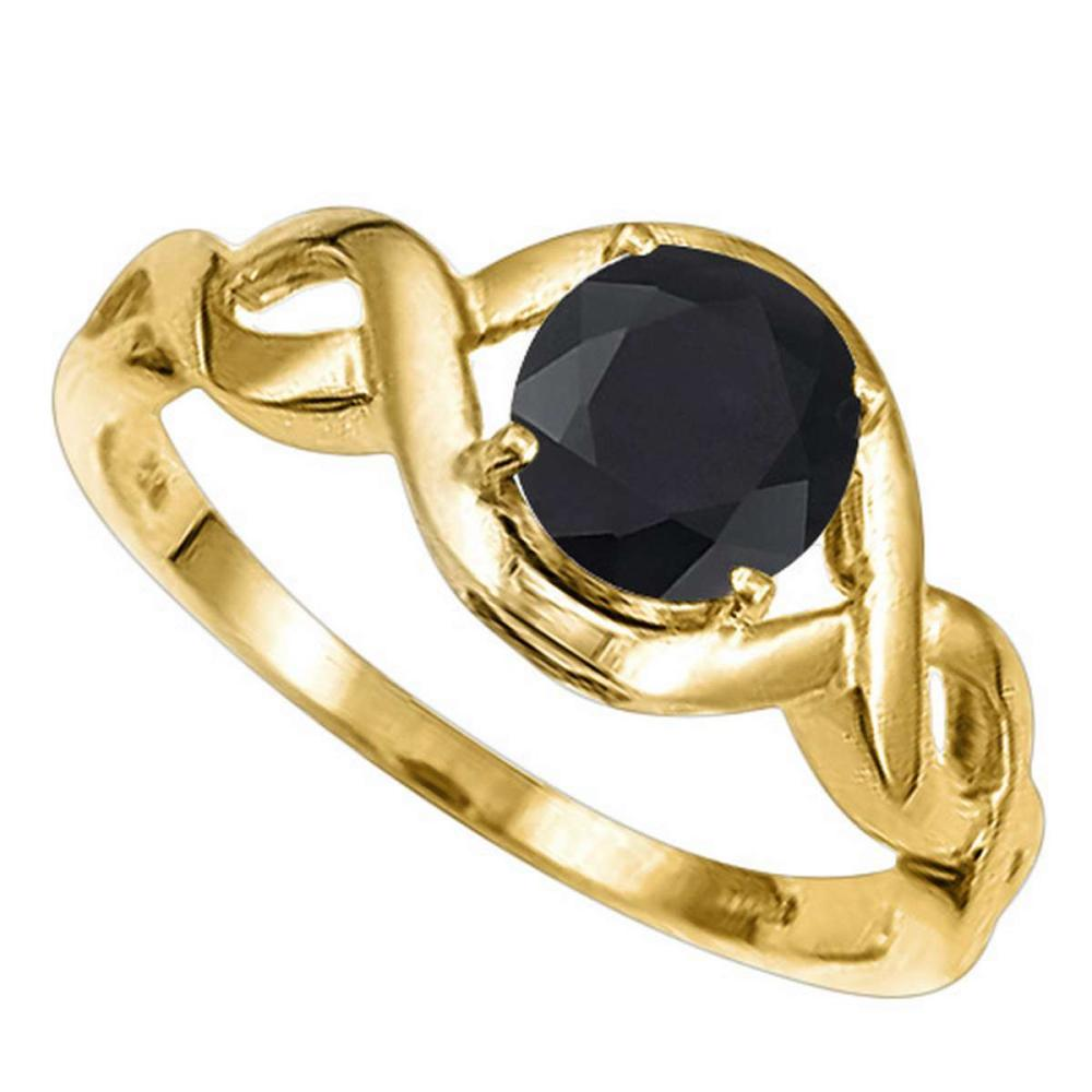 1.33 CT BLACK SAPPHIRE 10KT SOLID YELLOW GOLD RING #IRS93905