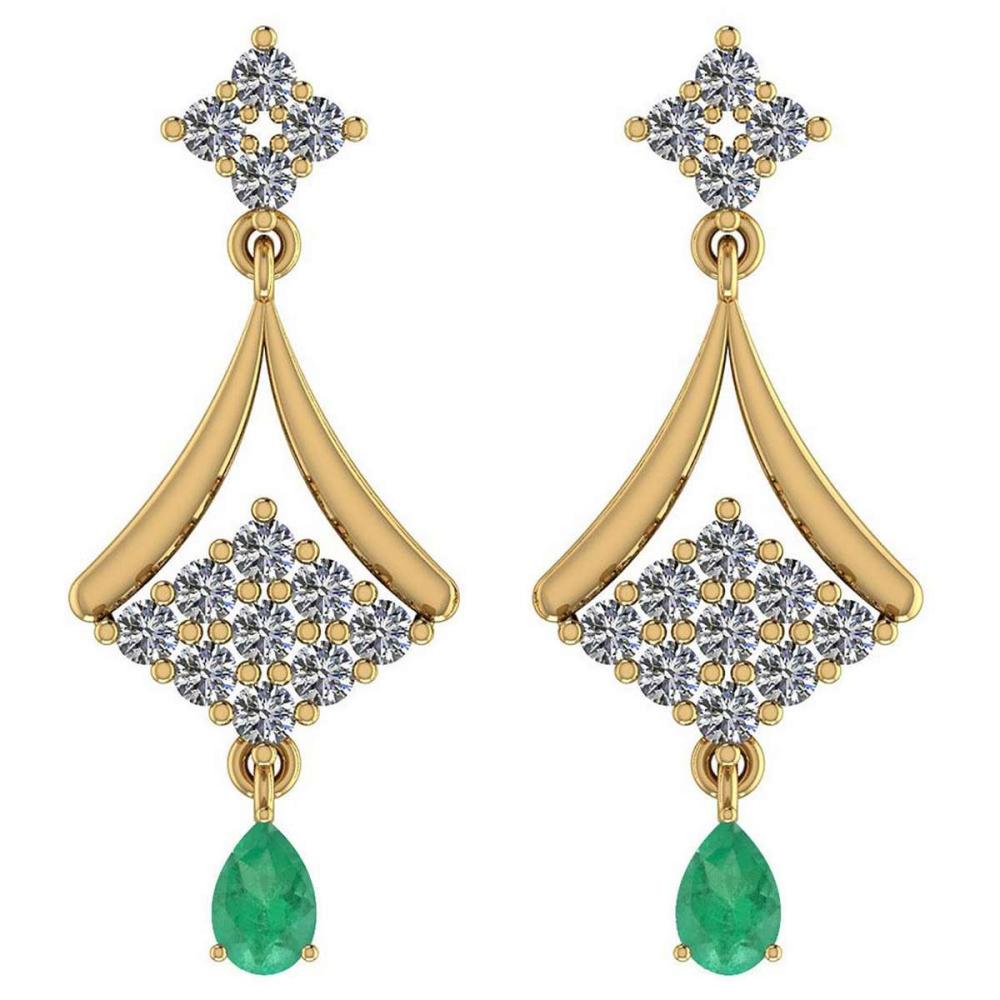 Certified 2.79 Ctw Emerald And Diamond VS/SI1 18K Yellow Gold Dangling Earrings #IRS27262