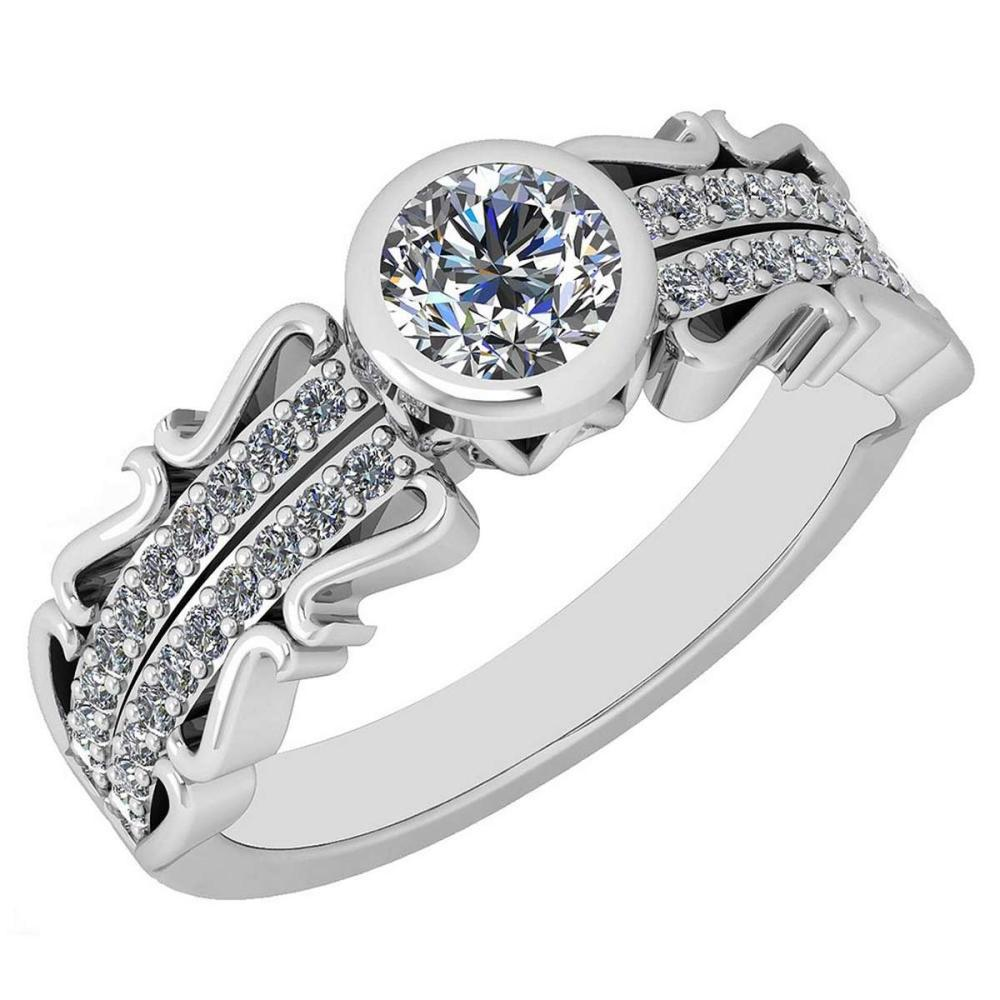 Certified 0.82 Ctw Diamond VS/SI1 18K White Gold Halo Ring #IRS25600