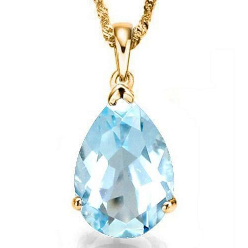 0.9 CTW SKY BLUE TOPAZ 10K SOLID YELLOW GOLD PEAR SHAPE PENDANT #IRS36951