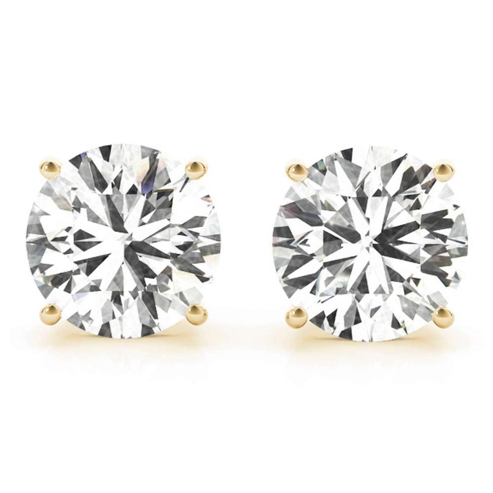 CERTIFIED 0.9 CTW ROUND I/SI2 DIAMOND SOLITAIRE EARRINGS IN 14K YELLOW GOLD #IRS20826