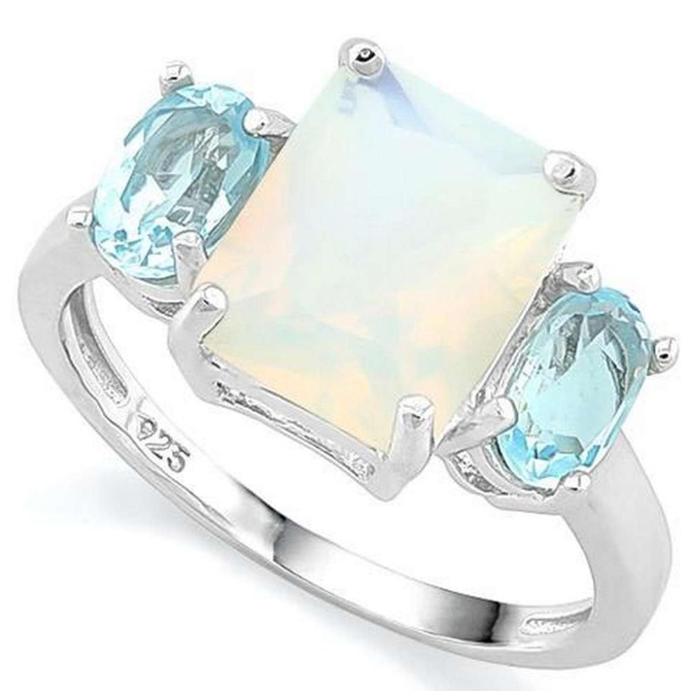 2 2/3 CARAT CREATED FIRE OPAL  2 CARAT BABY SWISS BLUE TOPAZ 925 STERLING SILVER RING #IRS36263