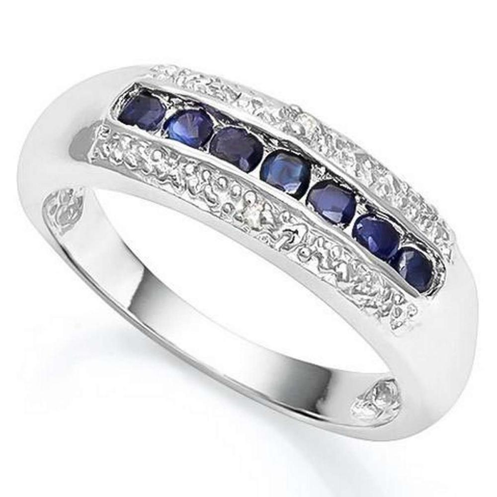 2/5 CT SAPPHIRE  DIAMOND 925 STERLING SILVER RING #IRS36340