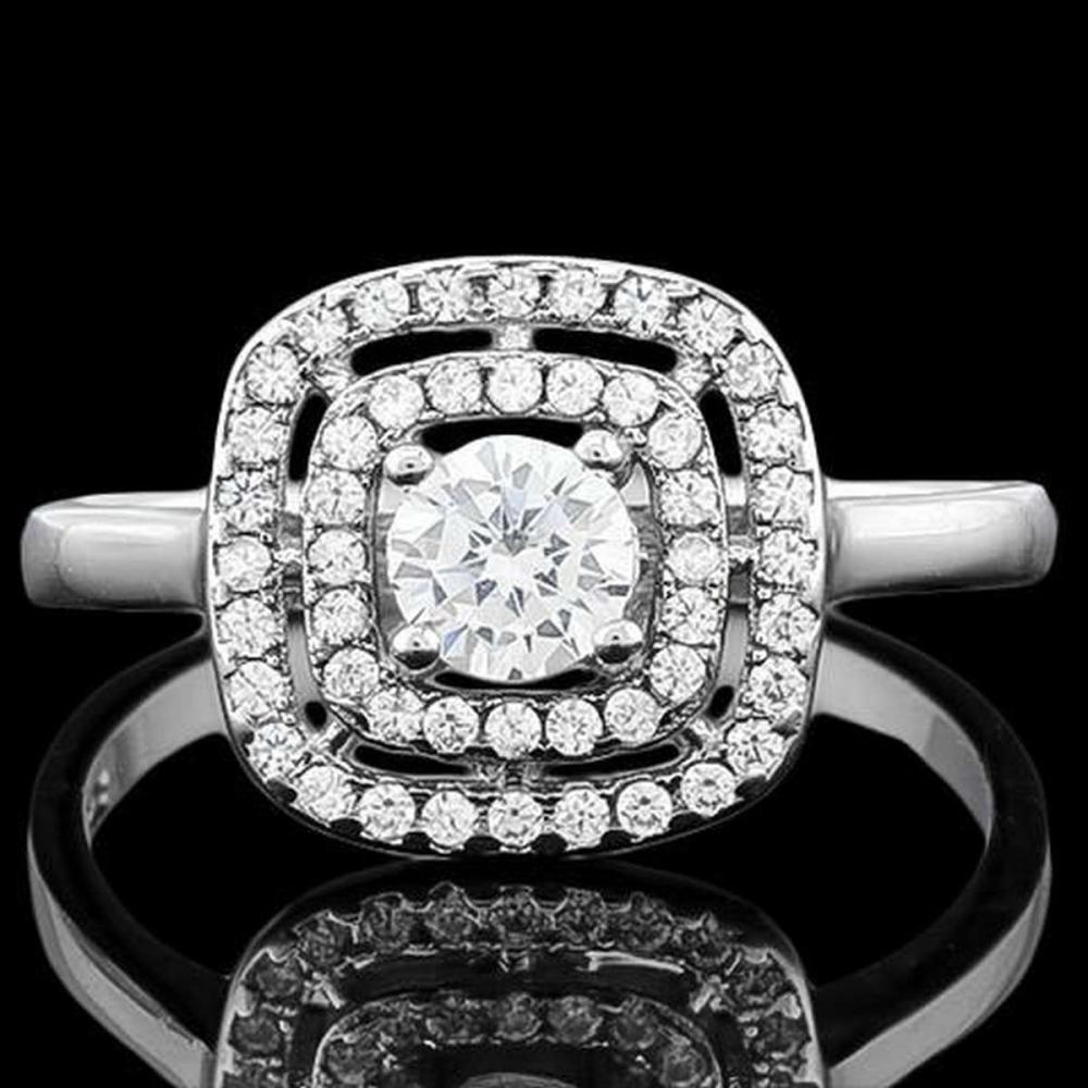 1 CARAT (53 PCS) FLAWLESS CREATED DIAMOND 925 STERLING SILVER HALO RING #IRS36283
