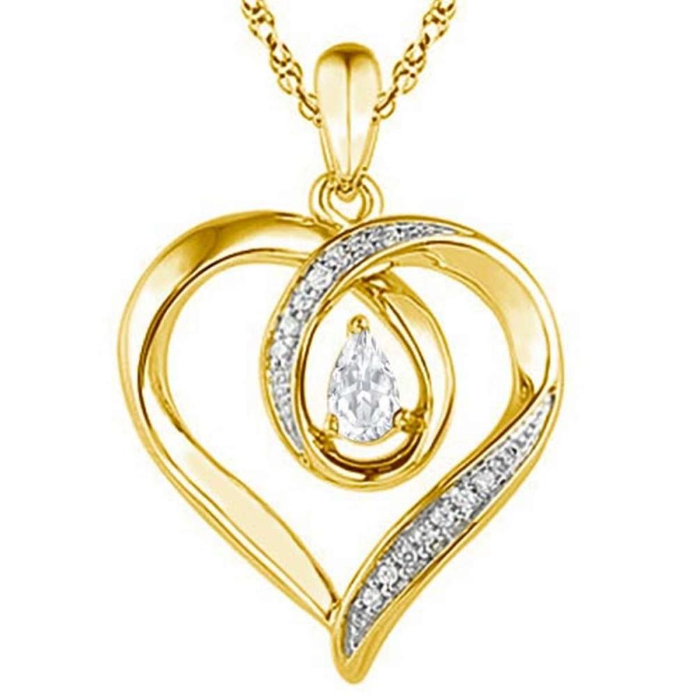 0.46 CARAT WHITE TOPAZ & CZ 14KT SOLID YELLOW GOLD PENDANT #IRS77090