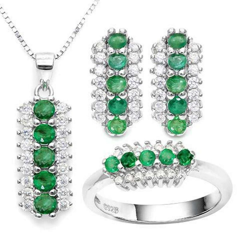EMERALD 925 STERLING SILVER SET #IRS36421