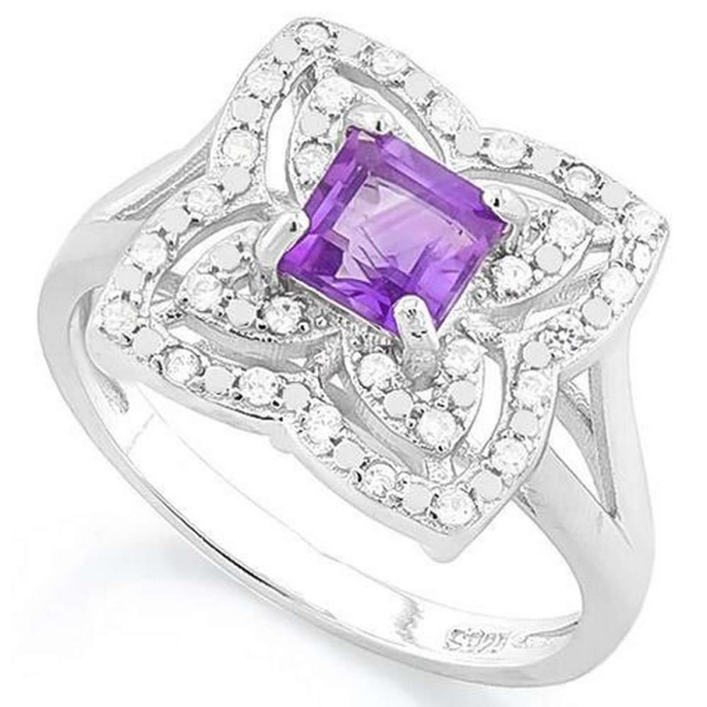 3/5 CARAT AMETHYST  (32 PCS) FLAWLESS CREATED DIAMOND 925 STERLING SILVER RING #IRS36268