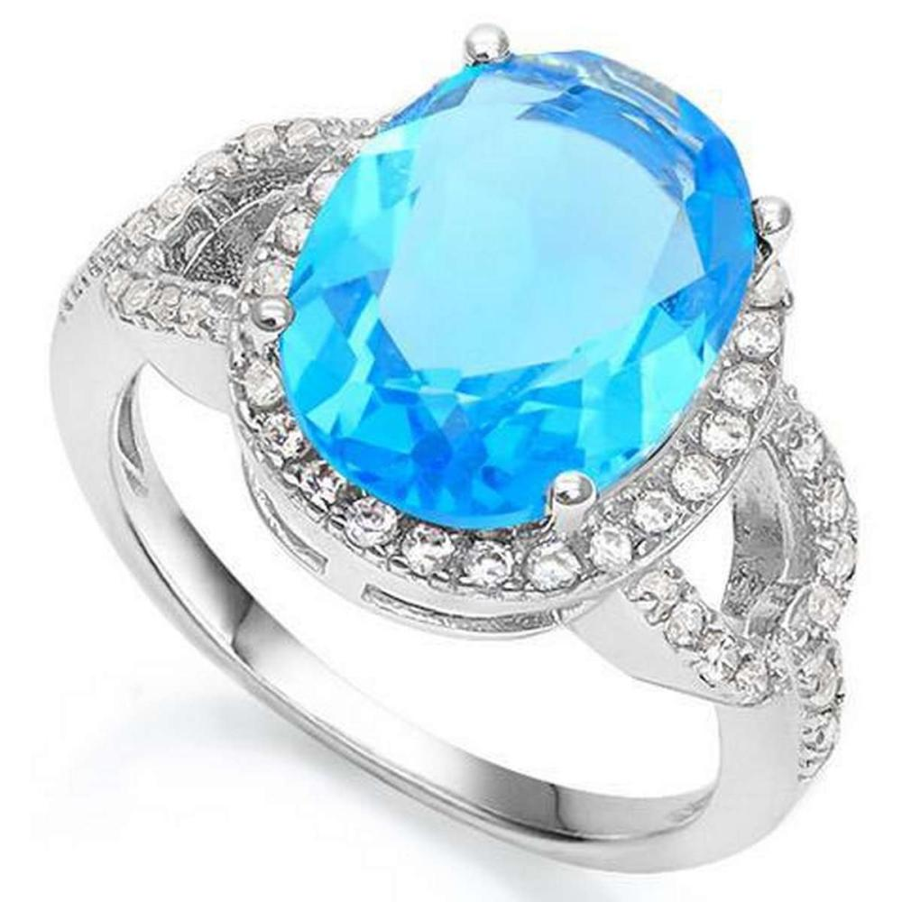 6 1/3 CARAT CREATED BLUE TOPAZ  3/5 CARAT CREATED WHITE SAPPHIRE 925 STERLING SILVER RING #IRS36304