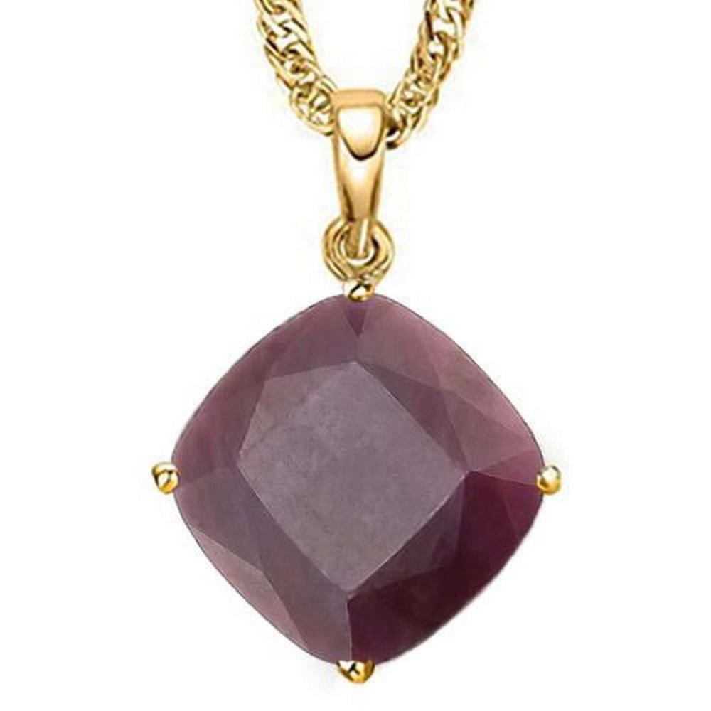 1.4 CTW RUBY 10K SOLID YELLOW GOLD CUSHION SHAPE PENDANT #IRS36975