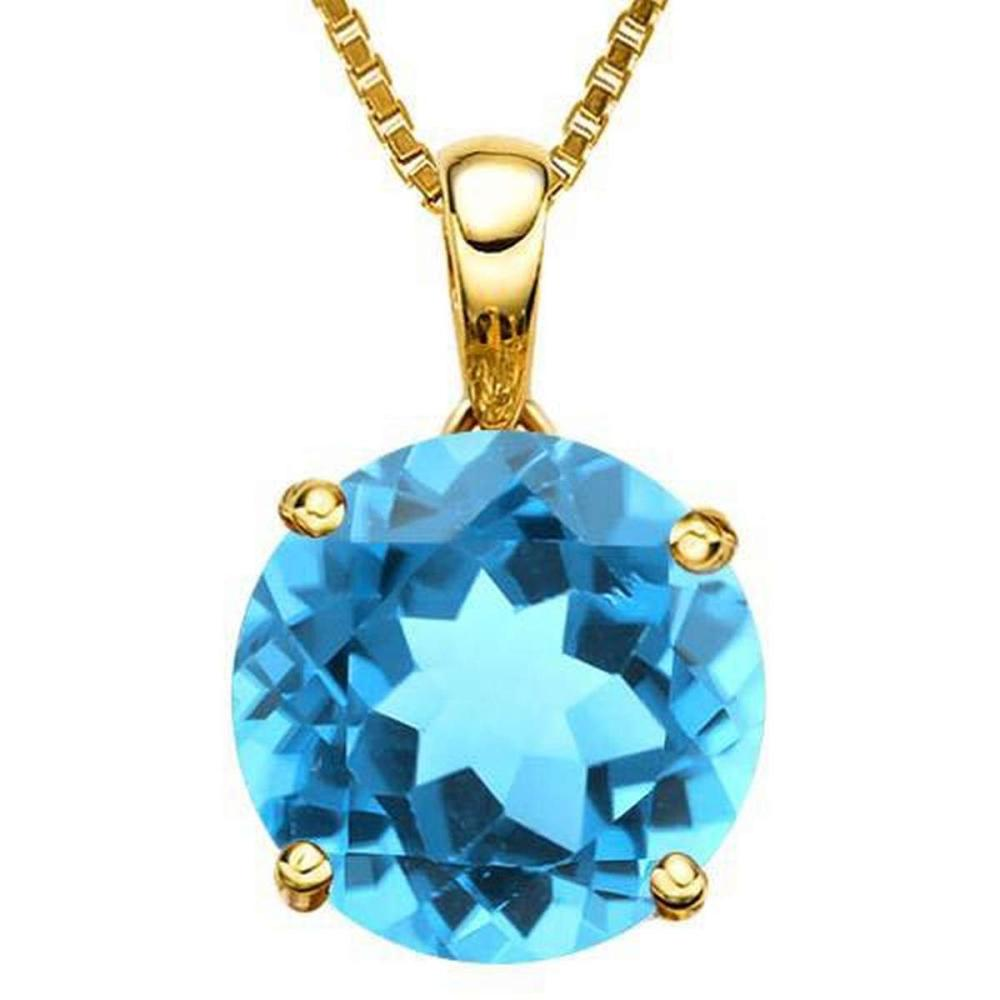 0.95 CTW SKY BLUE TOPAZ 10K SOLID YELLOW GOLD ROUND SHAPE PENDANT #IRS36962