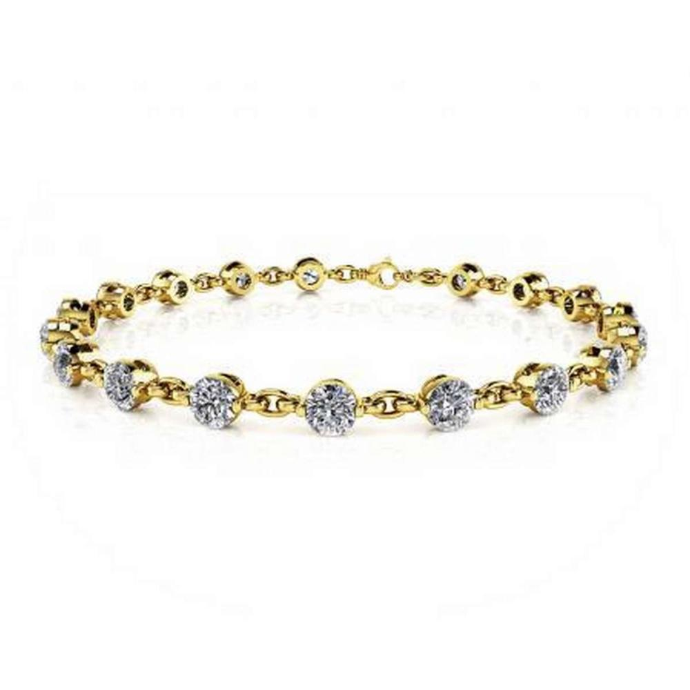 14K YELLOW GOLD 4 CTW J-L SI1/SI2 DIAMOND AND CHAIN LINK BRACELET #IRS19890