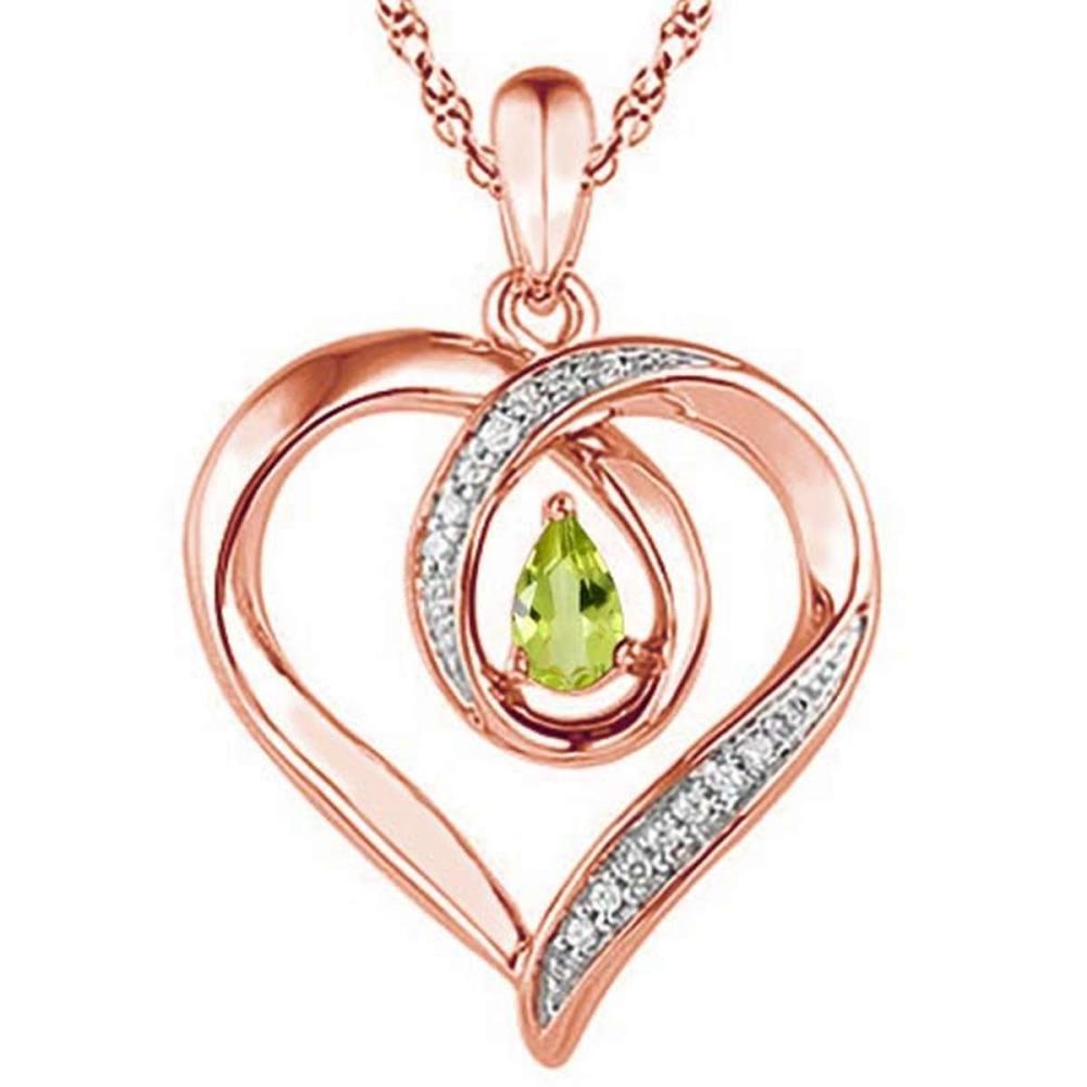 0.42 CARAT PERIDOT & CZ 14KT SOLID RED GOLD PENDANT #IRS77103