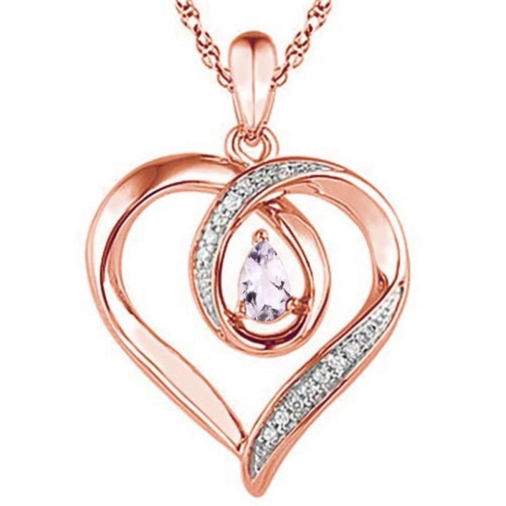0.37 CARAT PINK AMETHYST & CZ 14KT SOLID RED GOLD PENDANT #IRS77107