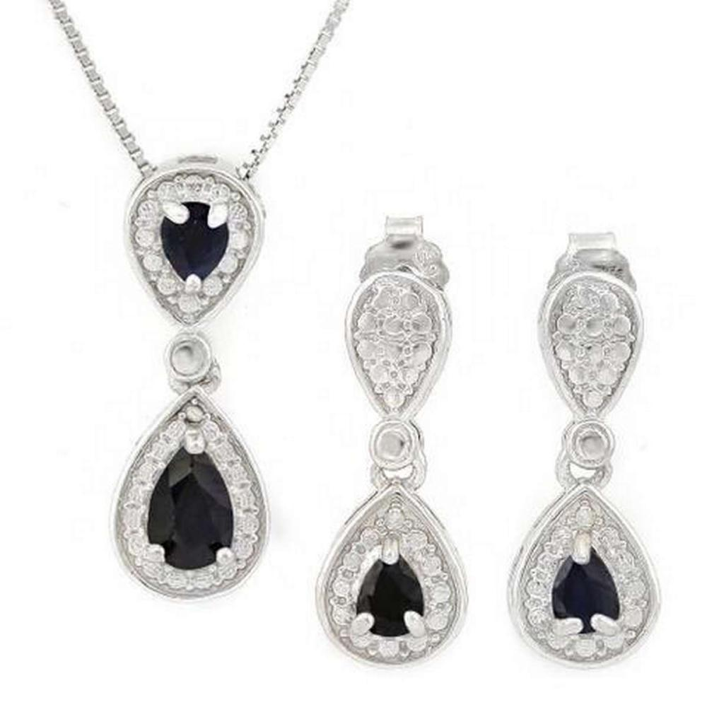 1 1/5 CARAT SAPPHIRE 925 STERLING SILVER SET #IRS36412