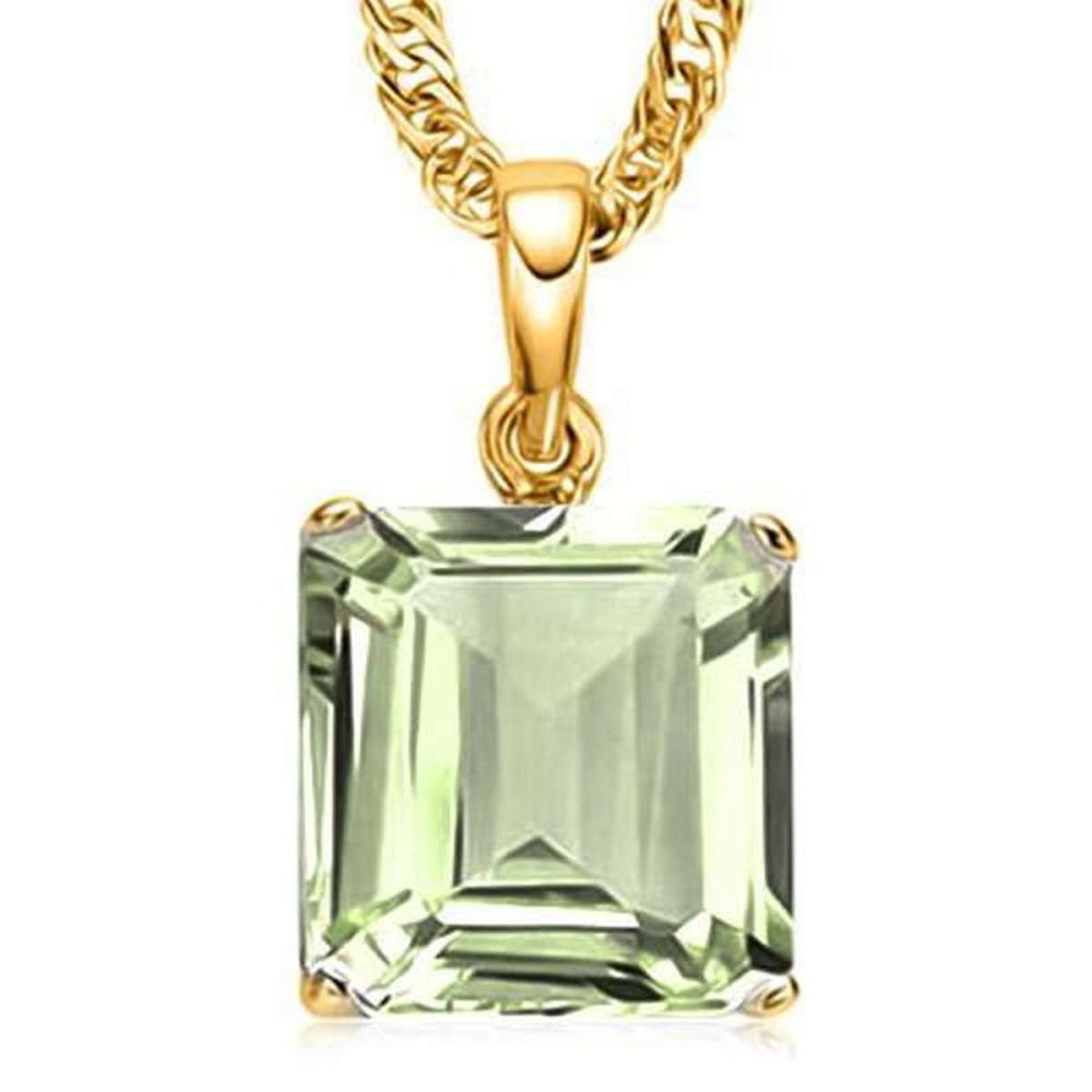 1.0 CTW GREEN AMETHYST 10K SOLID YELLOW GOLD SQUARE SHAPE PENDANT #IRS36970