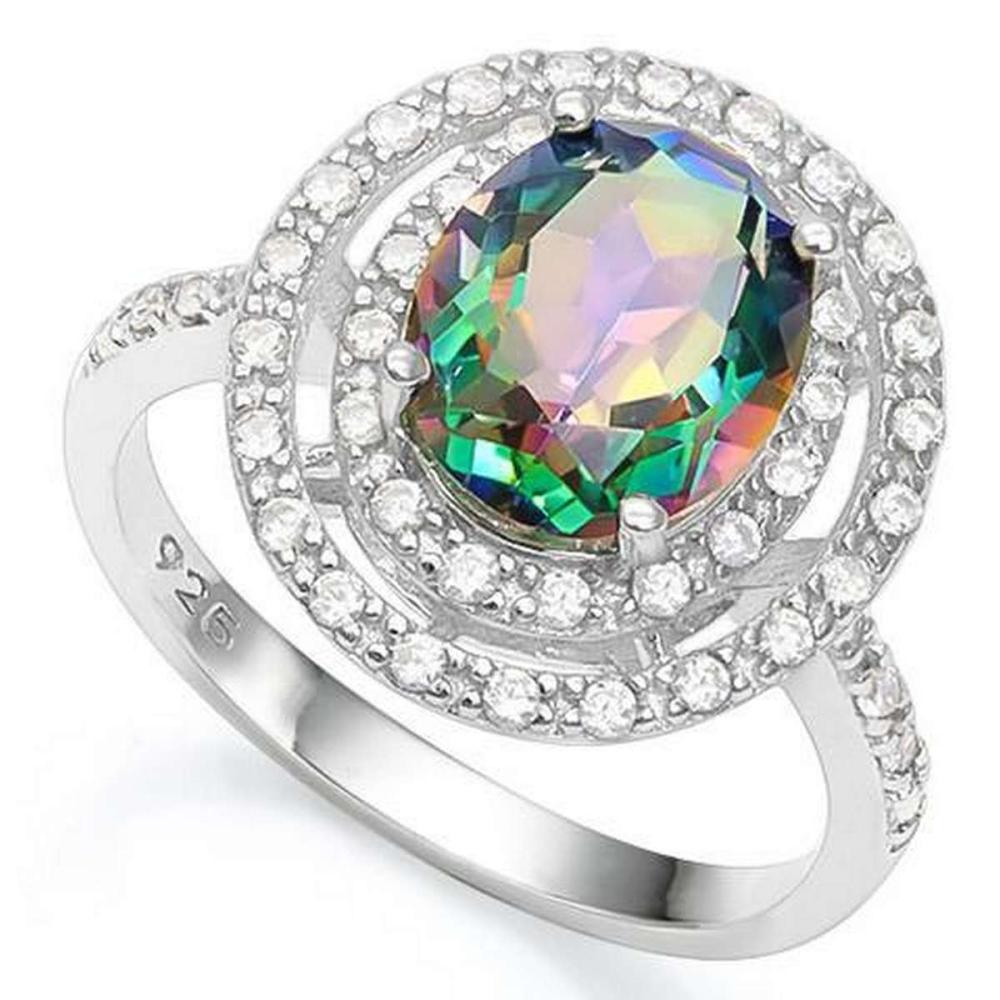 3 CT GREEN MYSTIC GEMSTONE  1/5 CT CREATED WHITE SAPPHIRE 925 STERLING SILVER RING #IRS36328