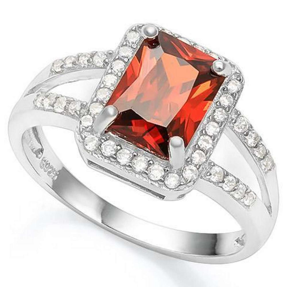 1 1/2 CARAT CREATED GARNET  1/5 CARAT CREATED WHITE SAPPHIRE 925 STERLING SILVER RING #IRS36366