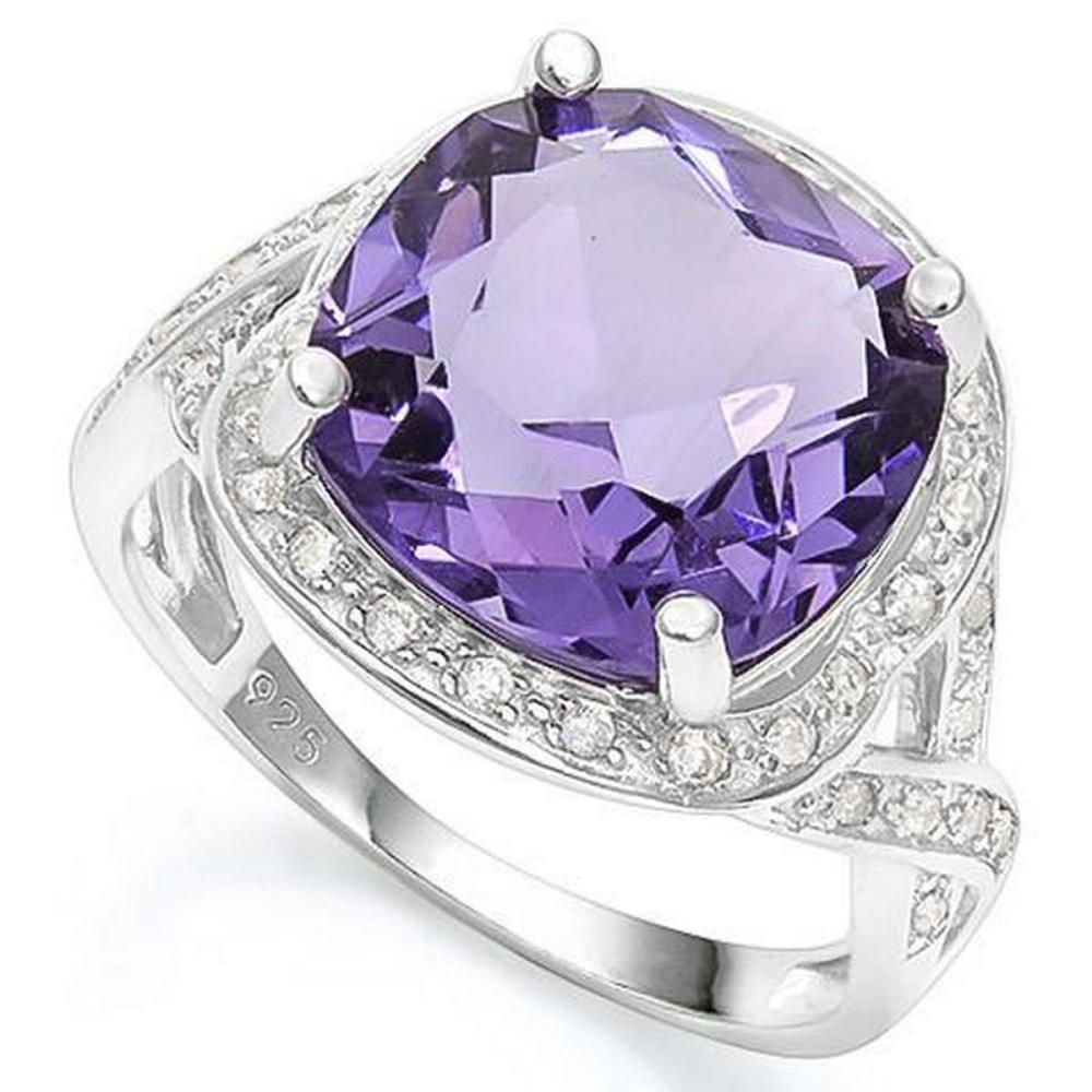 5.50 CT CREATED AMETHYST  2PCS CREATED WHITE SAPPHIRE 925 STERLING SILVER RING #IRS36307