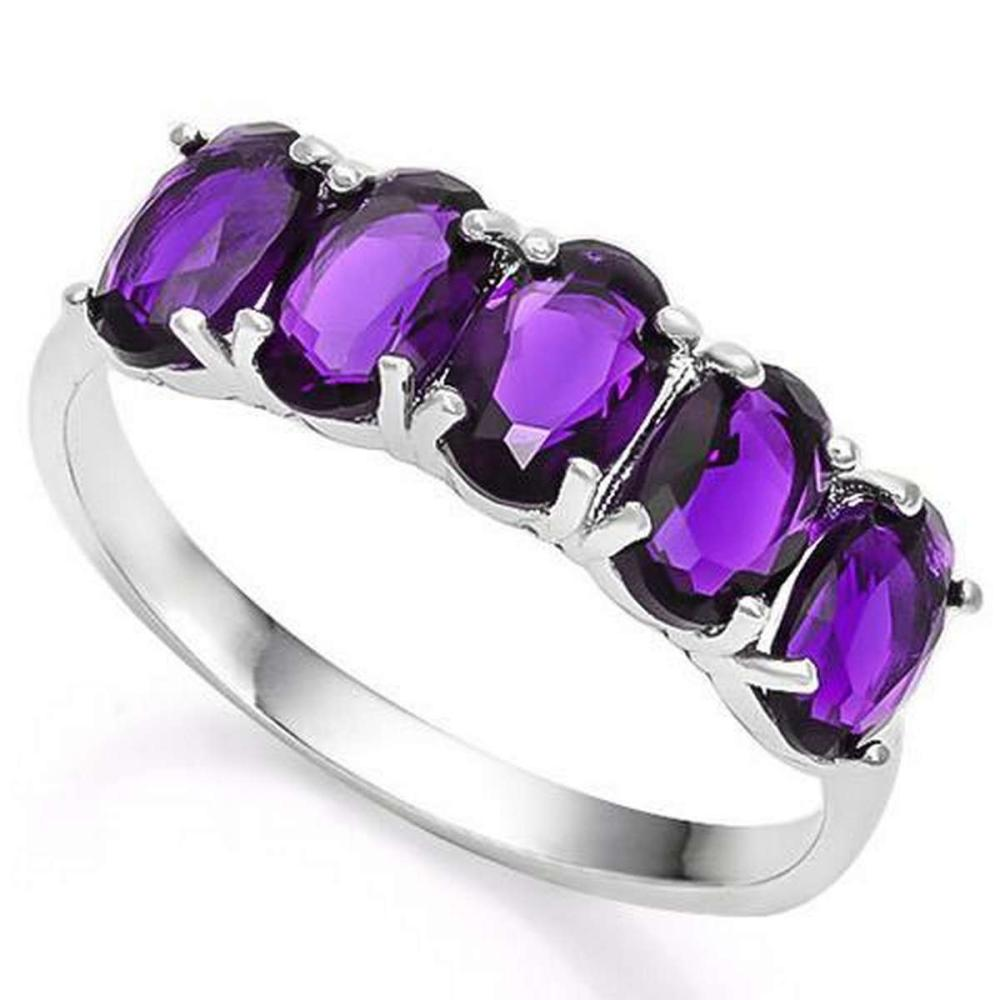 2 CARAT CREATED AMETHYST 925 STERLING SILVER RING #IRS36356