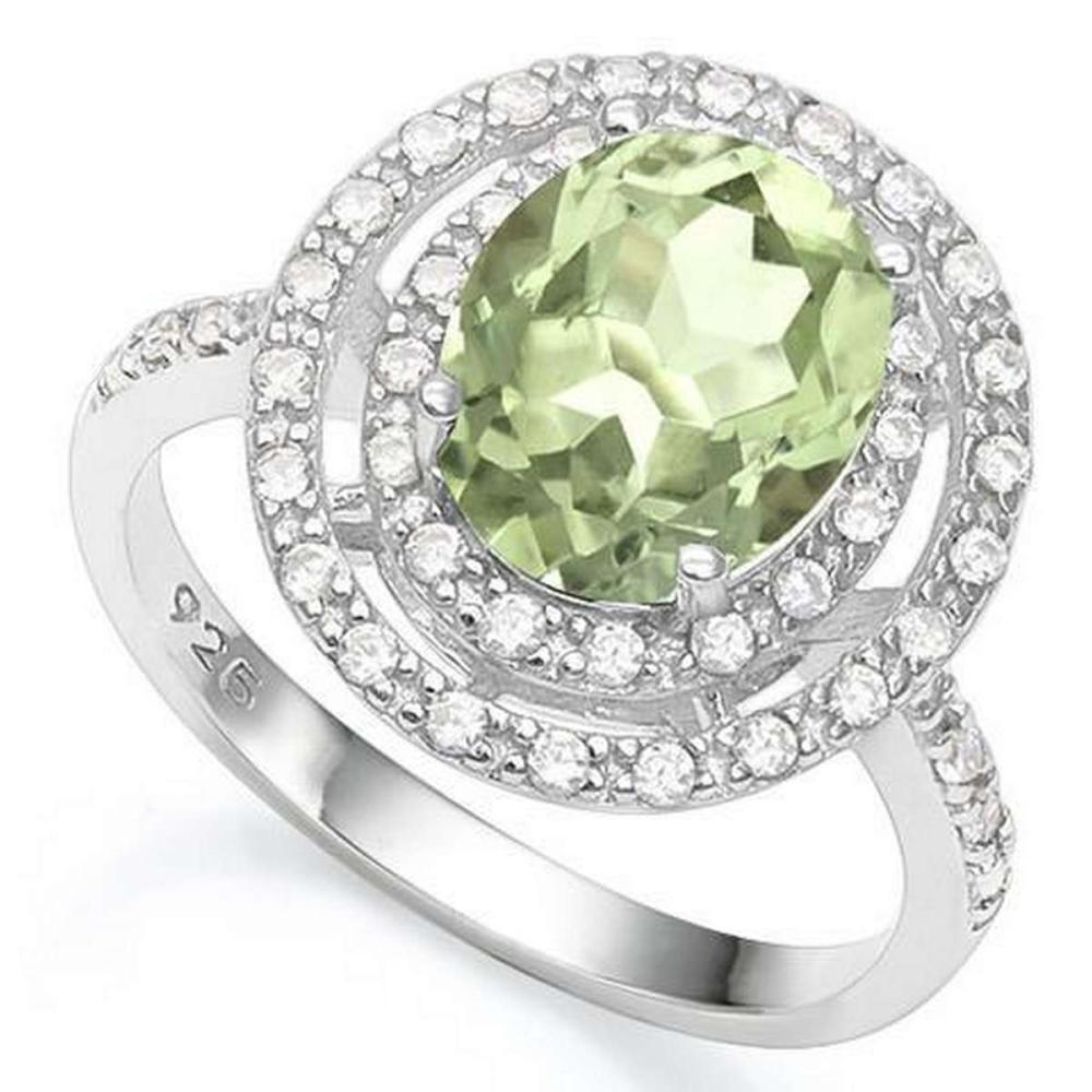 3 1/2 CARAT CREATED GREEN SAPPHIRE  4 CARAT (40 PCS) FLAWLESS CREATED DIAMOND 925 STERLING SILVER RING #IRS36329