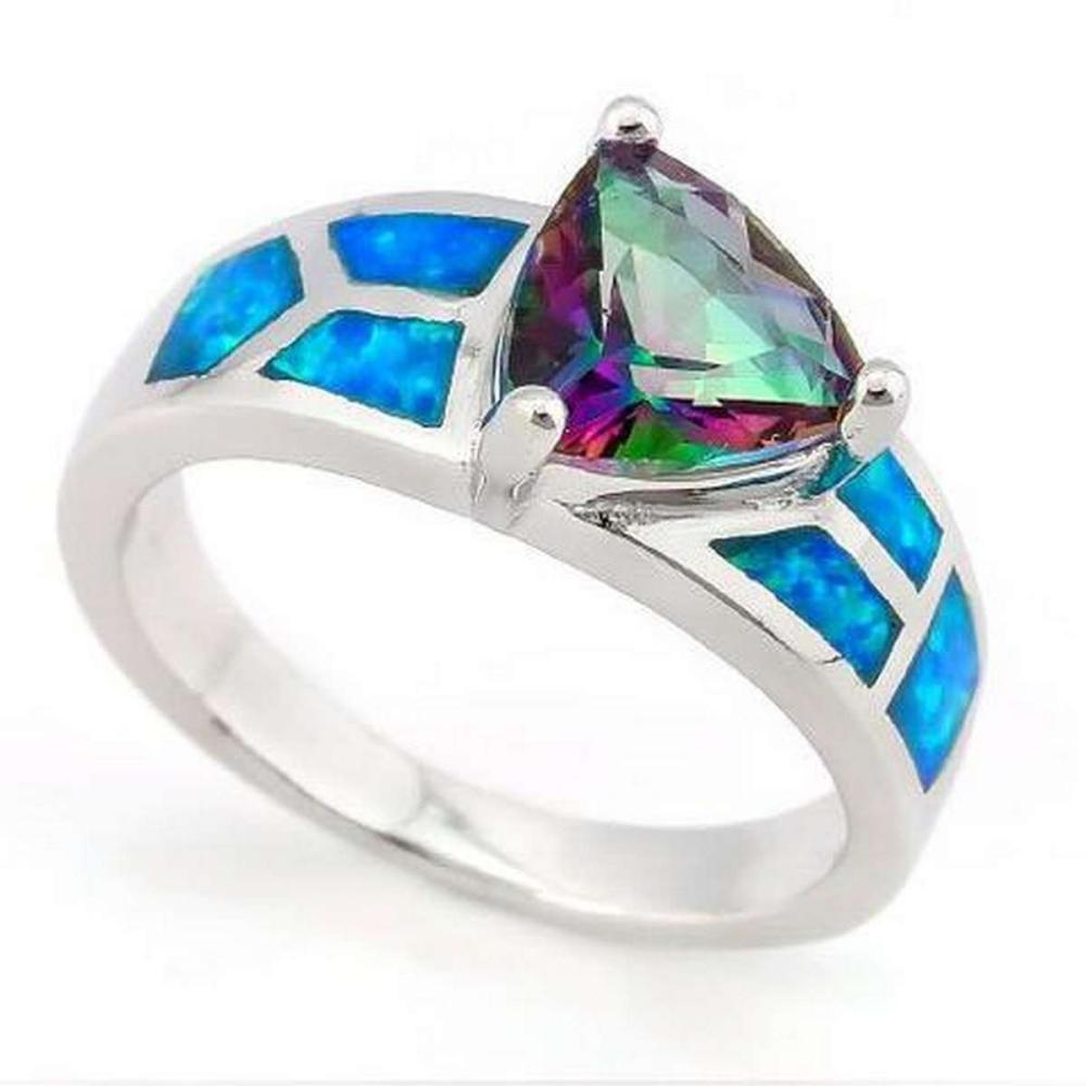 2 1/3 CARAT CREATED MYSTIC GEMSTONE & 1 CARAT (6 PCS) CREATED FIRE OPALS 925 STERLING SILVER RING #IRS36343