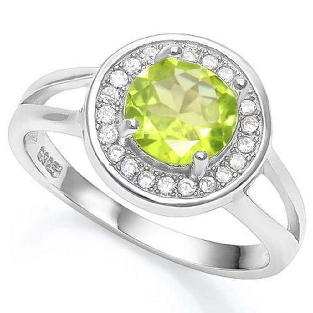 2 1/5 CT PERIDOT  CREATED WHITE SAPPHIRE 925 STERLING SILVER RING #IRS36294