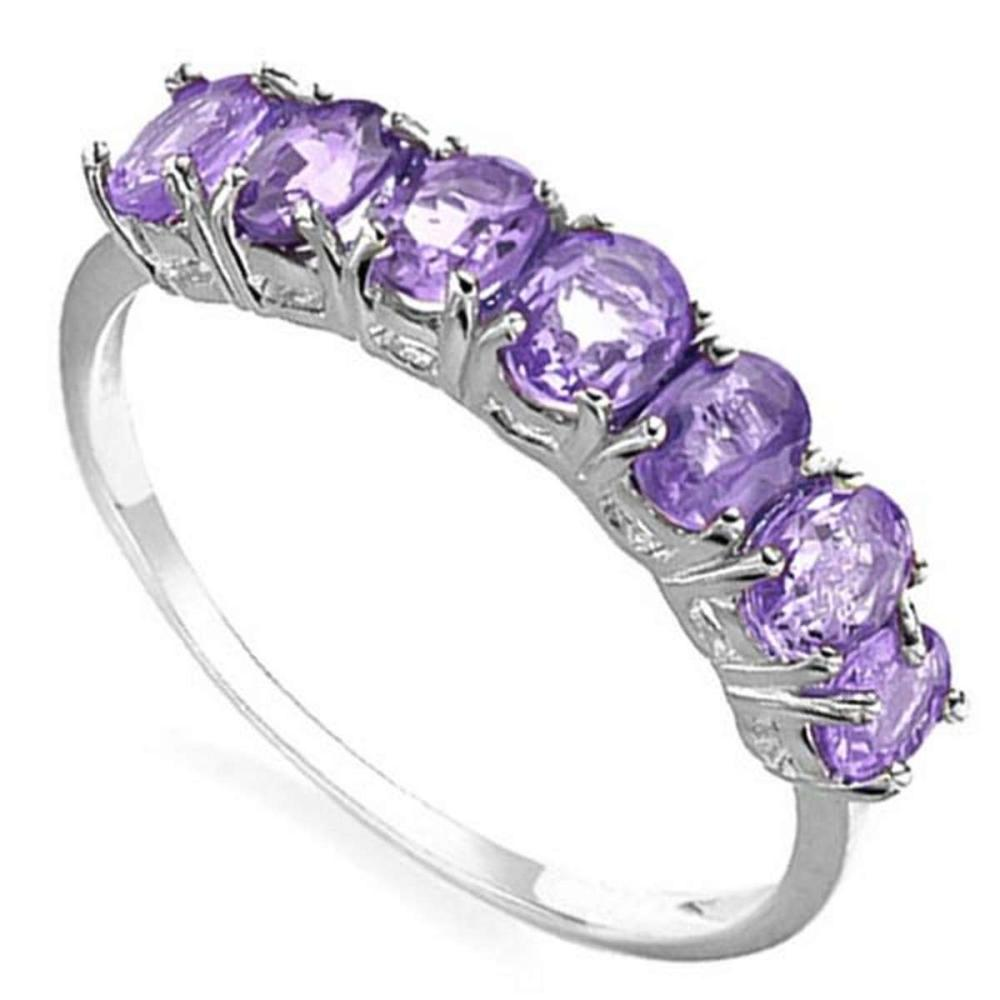 1.17 CTW GENUINE AMETHYST 10KT SOLID WHITE GOLD RING #IRS57307