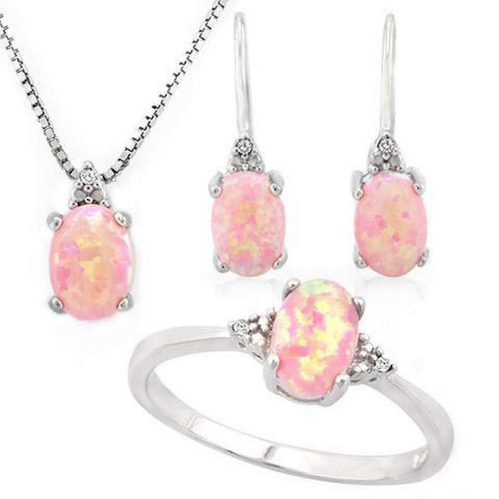 1 4/5 CARAT CREATED PINK FIRE OPAL  (15 PCS) DIAMOND 925 STERLING SILVER SET ( Ring Earring  Pendant) #IRS36373