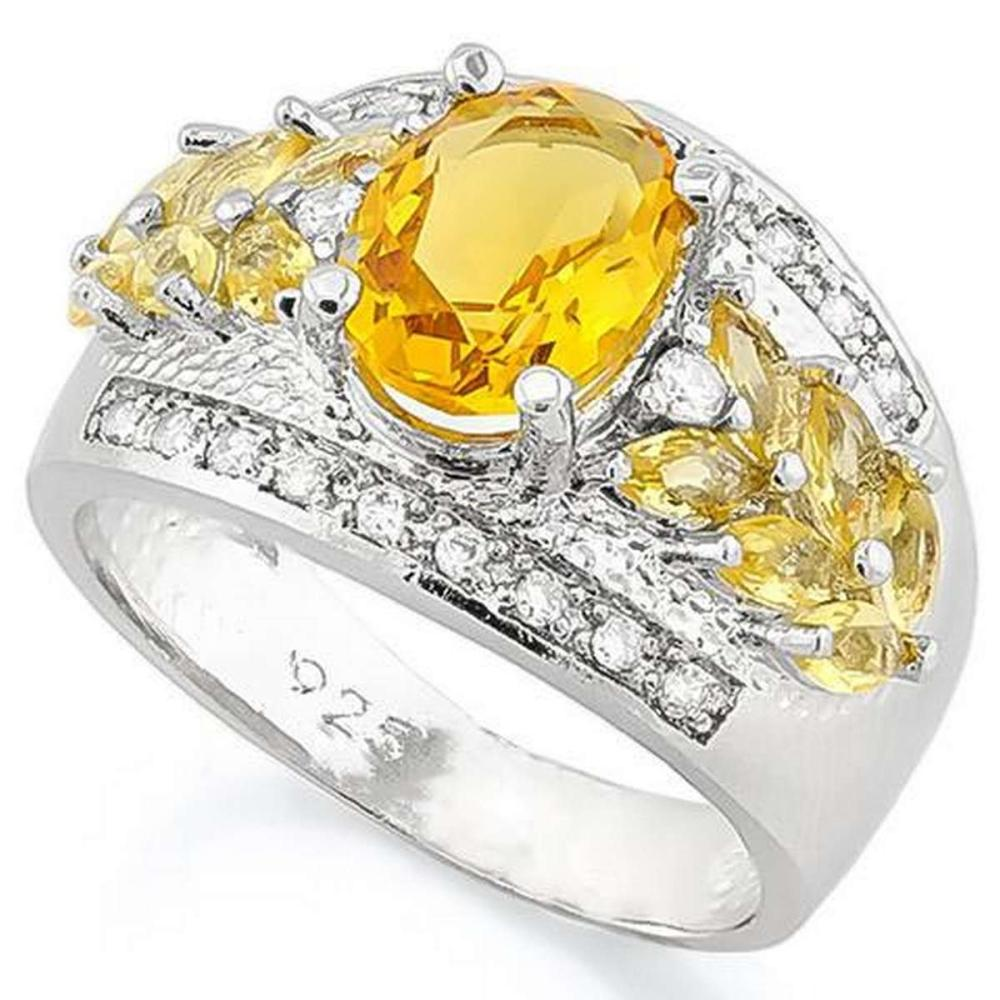 CREATED CITRINE 925 STERLING SILVER RING #IRS36262
