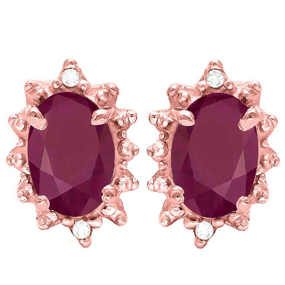 1.31 CT RUBY AND ACCENT DIAMOND 10KT SOLID ROSE GOLD EARRING #IRS93729