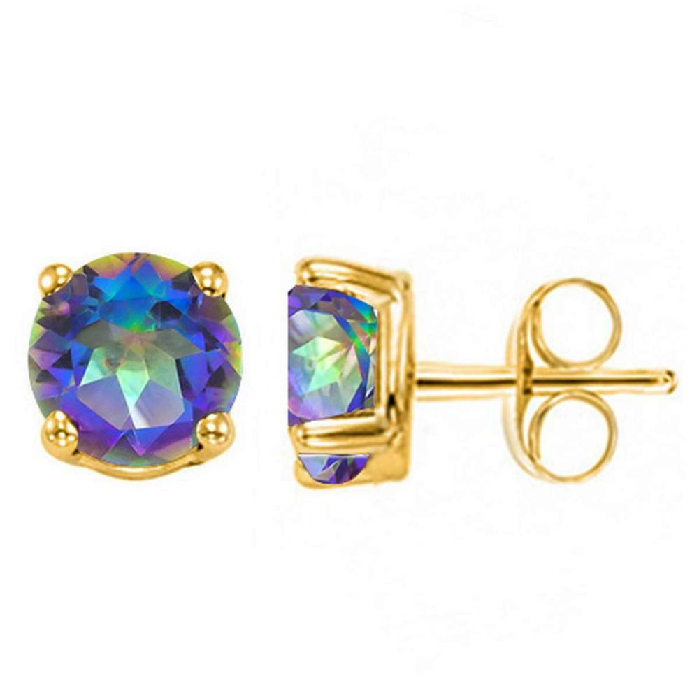 1.55 CT OCEANIC BLUE MYSTIC QUARTZ 10KT SOLID YELLOW GOLD EARRING #IRS93691