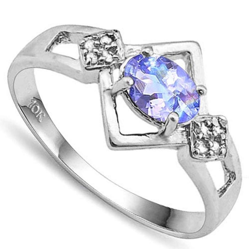 0.7 CTW GENUINE TANZANITE & GENUINE DIAMOND (8 PCS) 10KT SOLID WHITE GOLD RING #IRS80974
