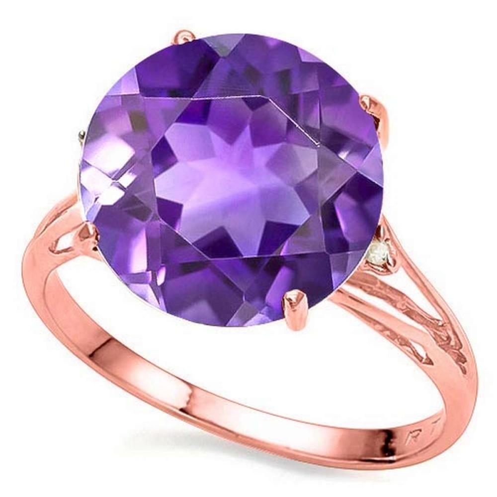5.25 CTW GENUINE AMETHYST & GENUINE DIAMOND (2 PCS) 10KT SOLID RED GOLD RING #IRS80922