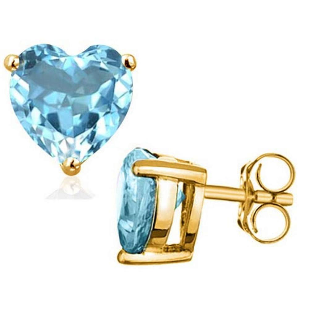 1.6 CTW SKY BLUE TOPAZ 10K SOLID YELLOW GOLD HEART SHAPE EARRING #IRS56695