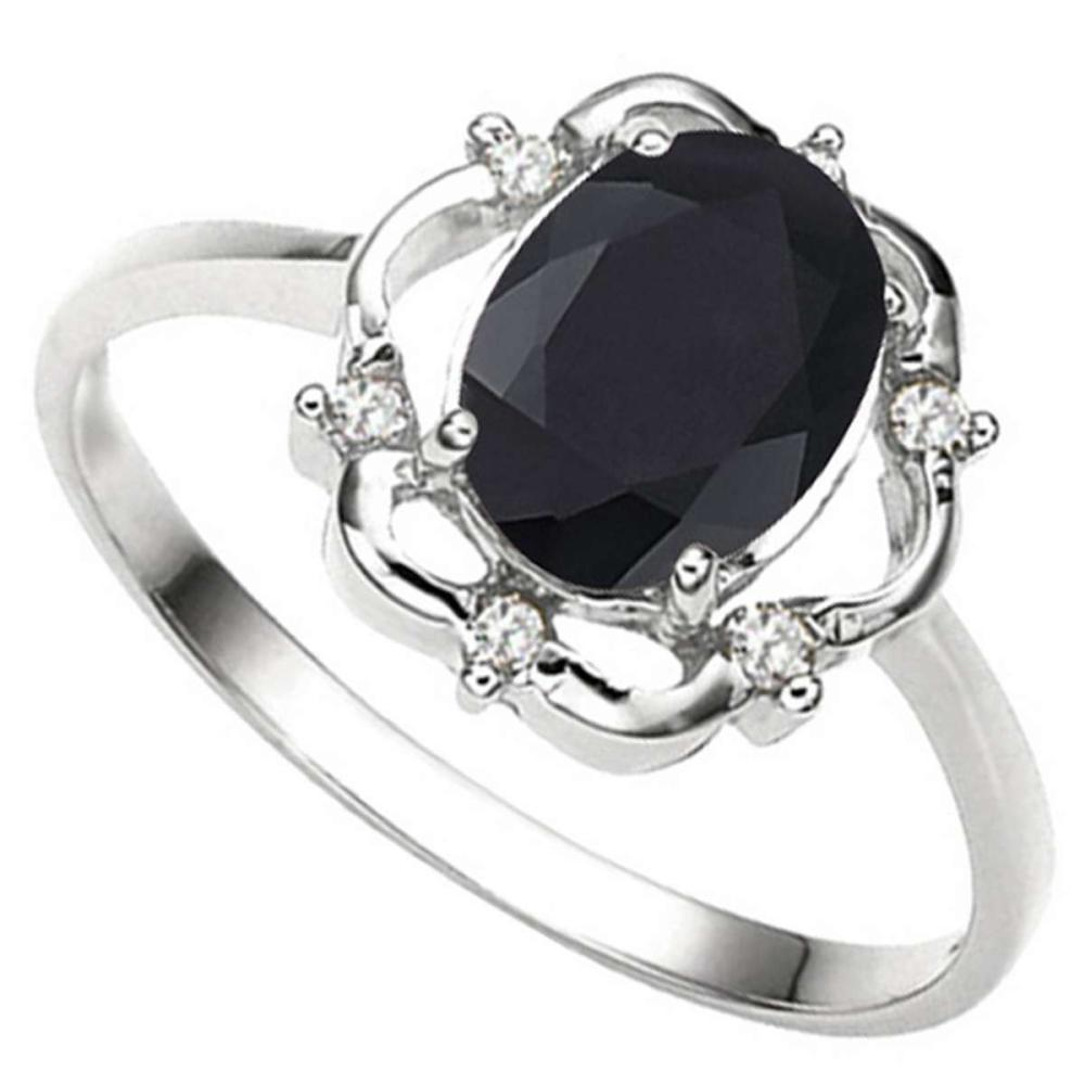 1.29 CT BLACK SAPPHIRE AND ACCENT DIAMOND 0.02 CT 10KT SOLID WHITE GOLD RING #IRS93857