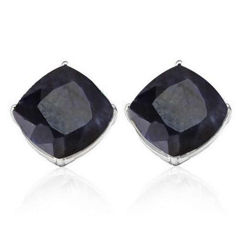 2.5 CTW BLACK SAPPHIRE 10K SOLID WHITE GOLD CUSHION SHAPE EARRING #IRS37039