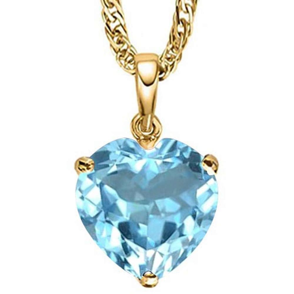 0.85 CTW SKY BLUE TOPAZ 10K SOLID YELLOW GOLD HEART SHAPE PENDANT #IRS56808