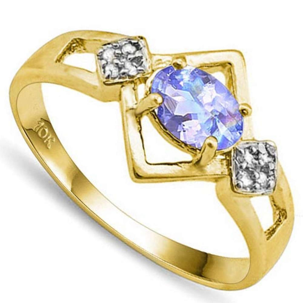 0.7 CTW GENUINE TANZANITE & GENUINE DIAMOND (8 PCS) 10KT SOLID YELLOW GOLD RING #IRS80897