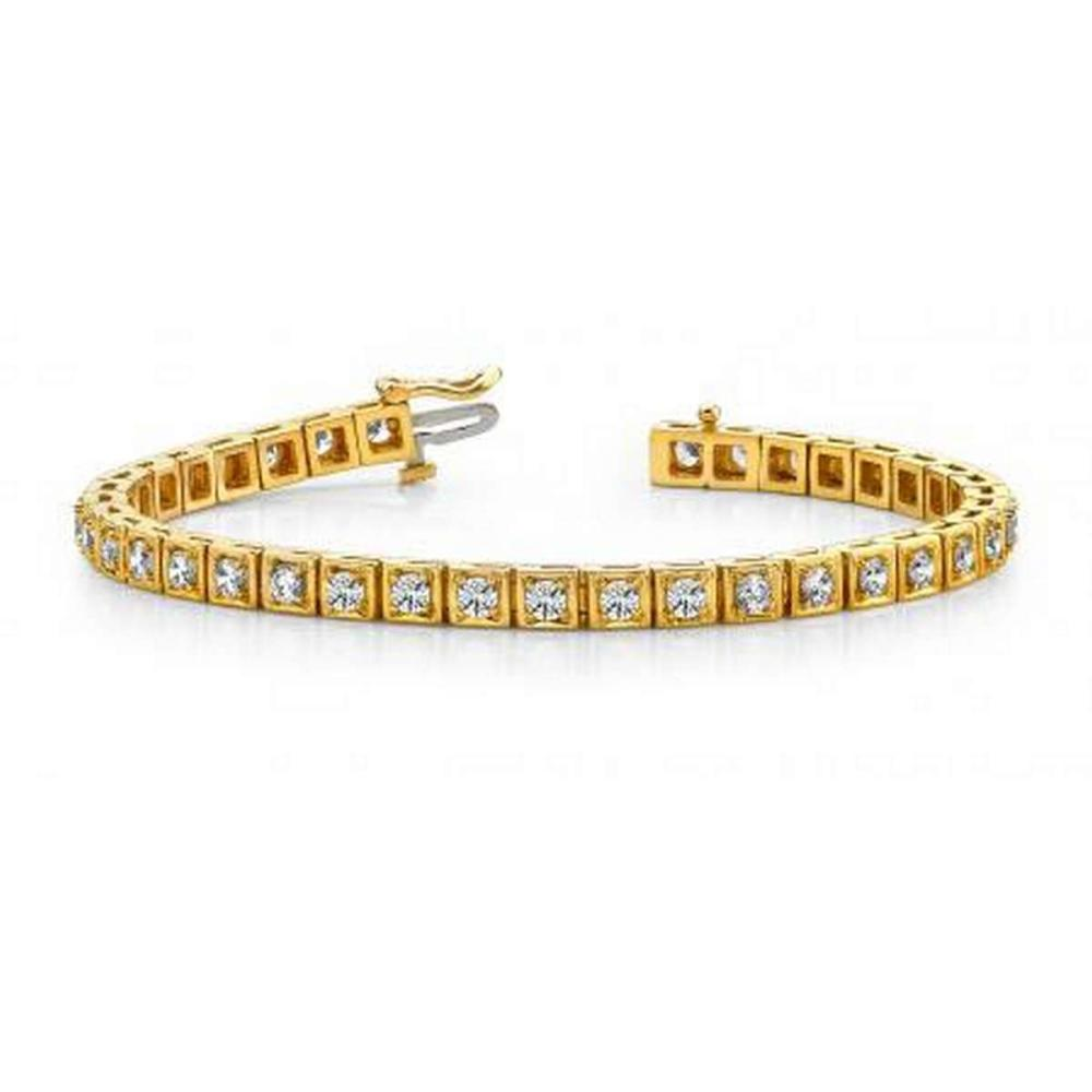 14K YELLOW GOLD 1 CTW G-H VS2/SI1 FLOATING DIAMOND BOX TENNIS BRACELET #IRS19934