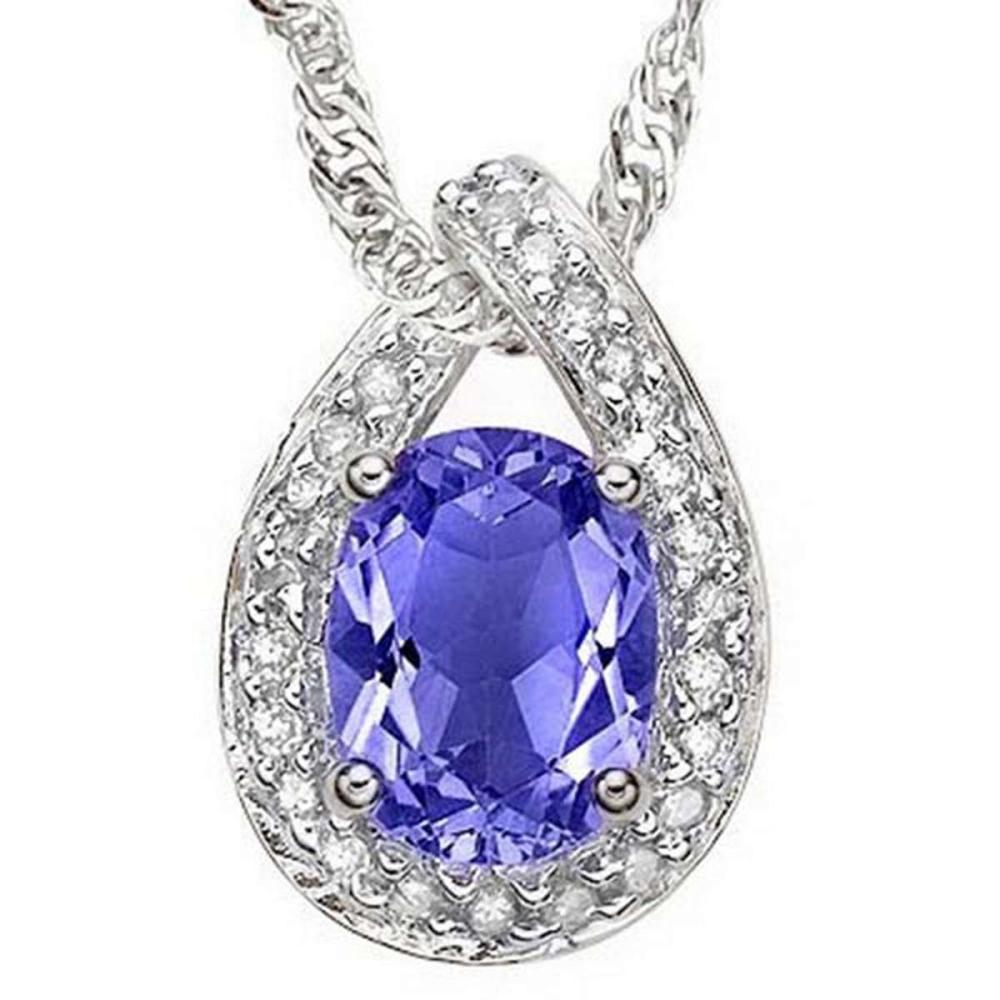 1.45 CT GENUINE TANZANITE & CZ (25 PCS) 10KT SOLID WHITE GOLD PENDANT #IRS56602