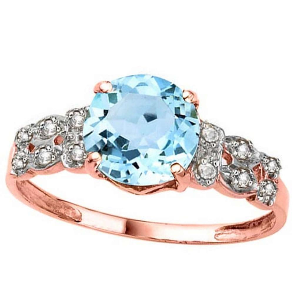 2.37 CTW GENUINE SKY BLUE TOPAZ & GENUINE DIAMOND (12 PCS) 10KT SOLID RED GOLD RING #IRS80965